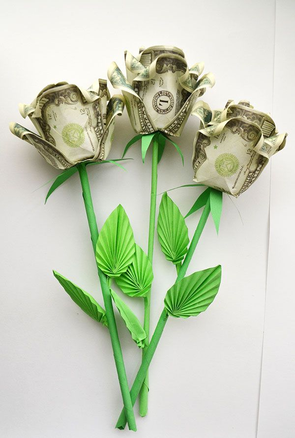 How To Assemble A Money Rose With A Stem And Leaves Bouquet Of