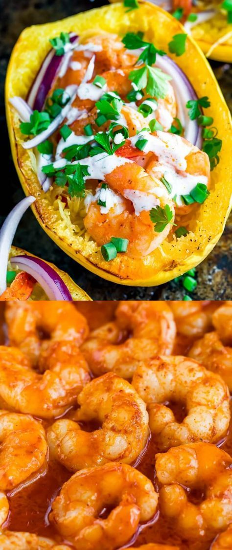 Buffalo Shrimp Spaghetti Squash with Paleo Ranch Dressing - Peas And Crayons