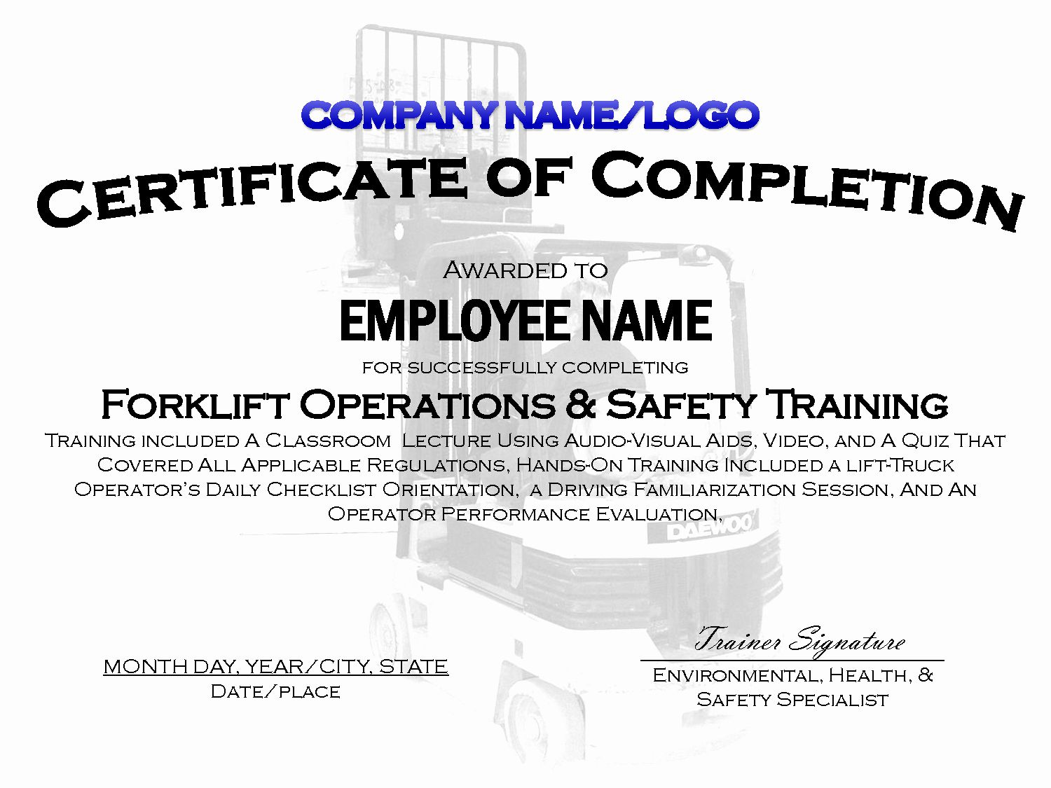 Forklift Training Certificate Template Best Of Best S Of Sample Training Certificate Template Training Certificate Forklift Training Certificate Templates