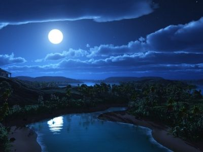 The Moon Hung In The Night Sky With The Glistening River Cool