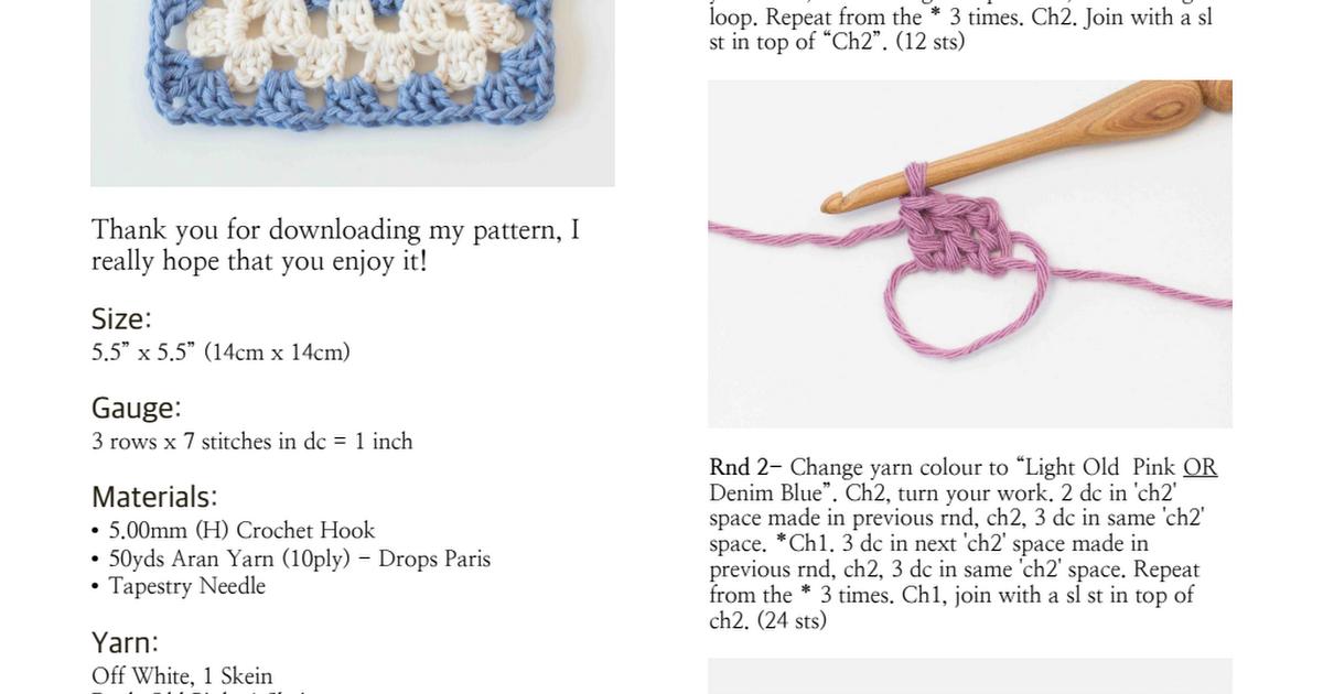 Classic Granny Square Crochet Pattern.pdf   CROCHET   Pinterest ...