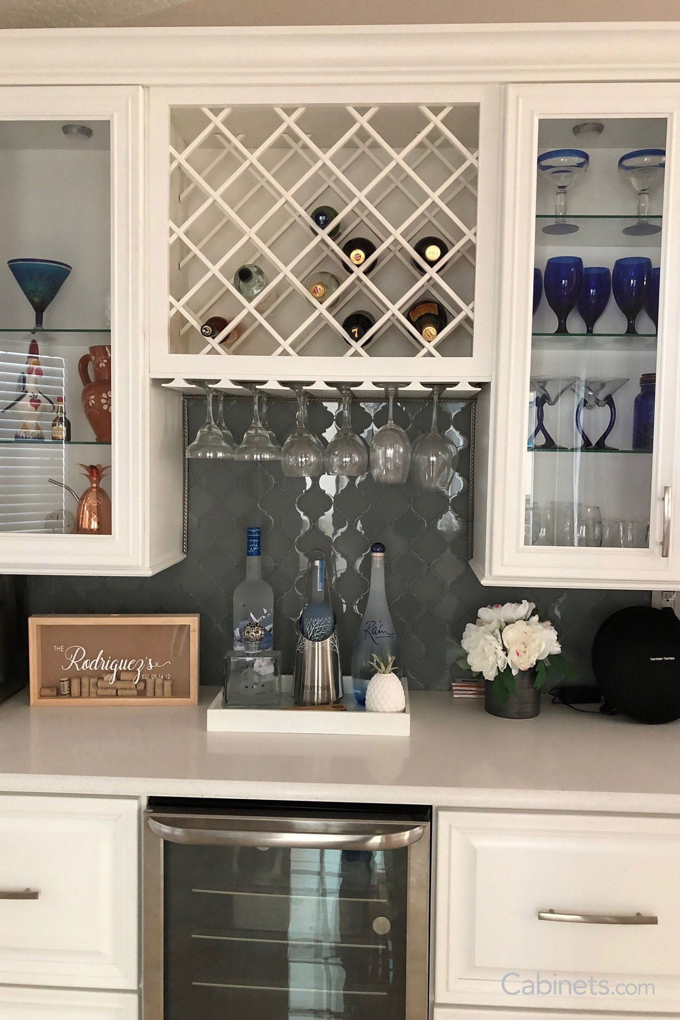 Lattice Wine Rack Stemware Holder And Glass Front Doors All The Necessities For A Perfect Bar S Home Wine Bar Built In Wine Rack Kitchen Cabinet Wine Rack