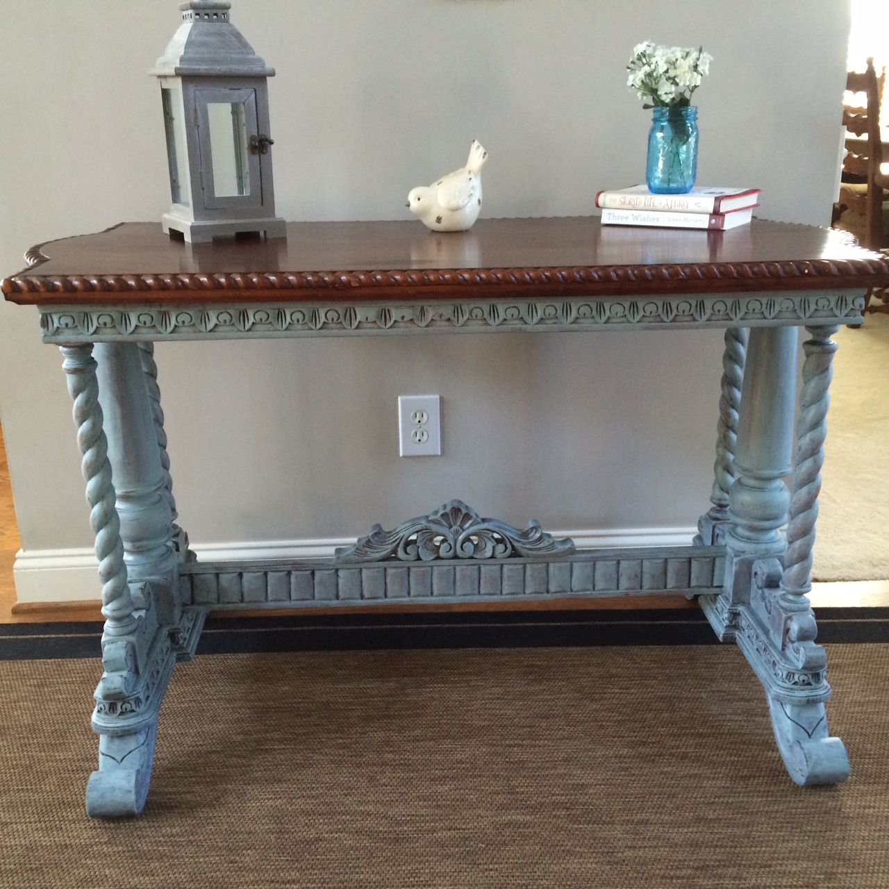 Sofa Table Painted In Duck Egg Blue And Java Stain On Top Painted Table Chalk Paint Furniture Sofa Tables
