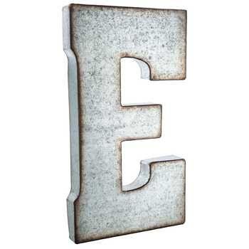 Galvanized Metal Letter Wall Decor E In 2020 Metal Wall Letters Metal Letter Wall Decor Large Metal Letters