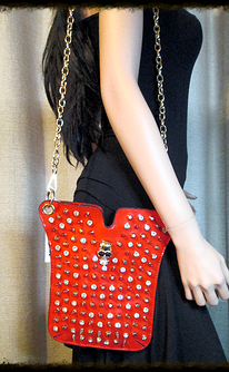 Red patent with skull and rhinestone accents