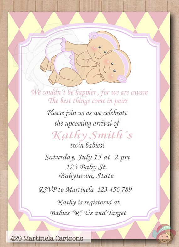 Twin Girls Baby Shower Invitation Twins Baby Shower Pink Diamonds