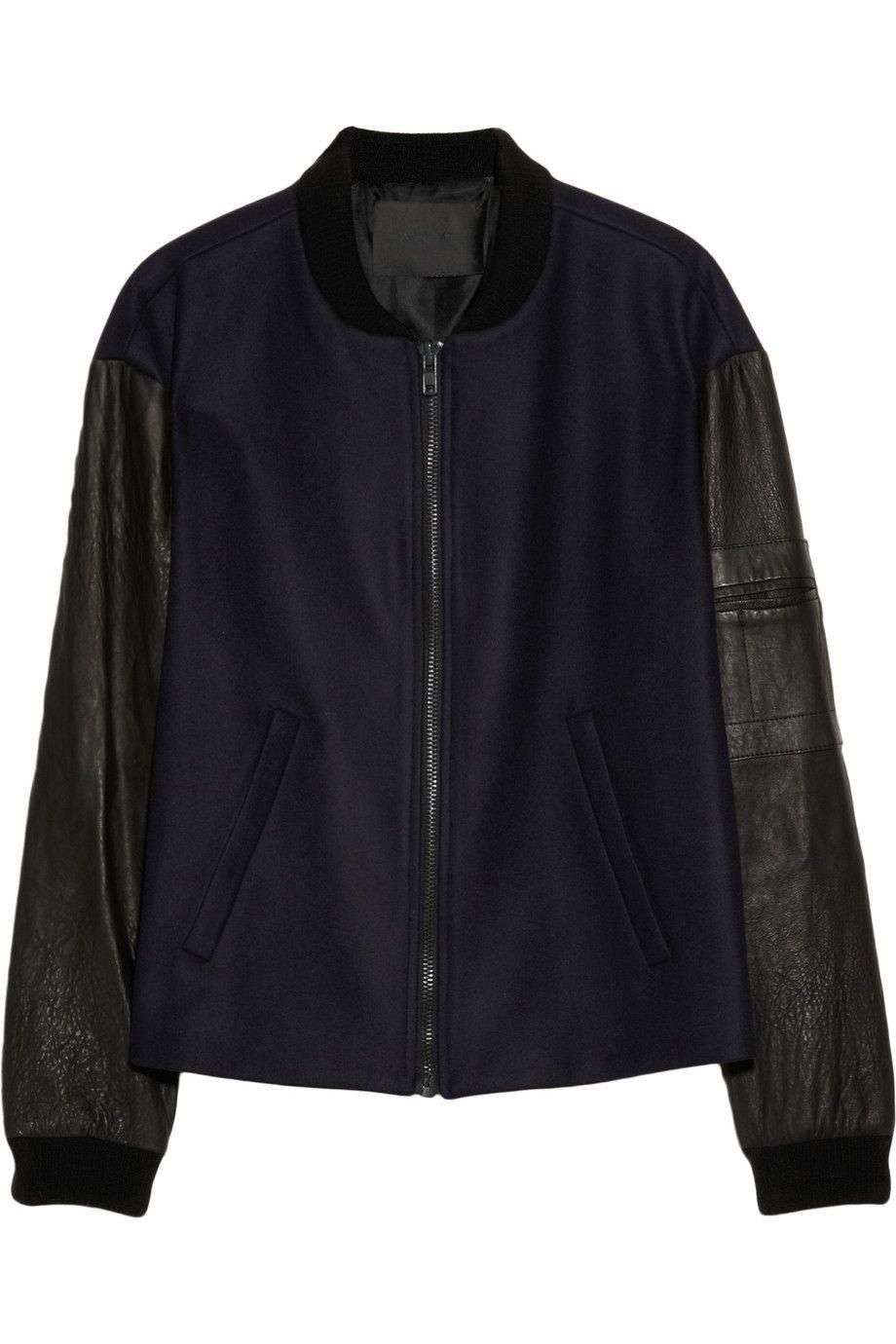 A.L.C. | Leather-sleeved wool-blend felt bomber jacket | NET-A-