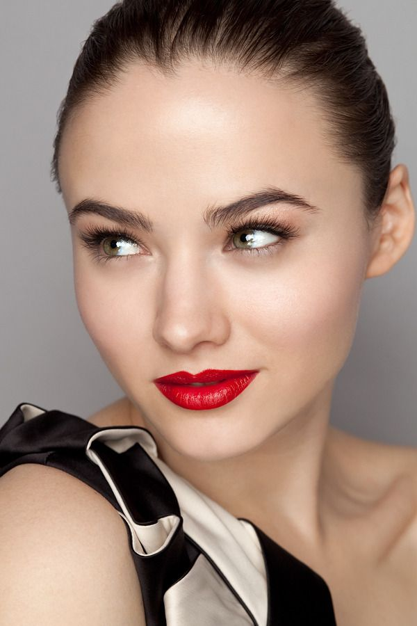 Classic Look Bold Red Lip And Beautiful Soft Eyes Wedding