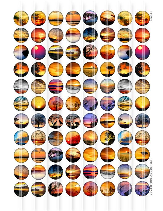 Sunsets 20mm 14mm and 12mm circles Digital by CobraGraphics
