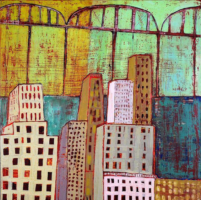 "woven city  (c) Barbara Gilhooly  16 x 16""  acrylic, ink, carving on birch  www.barbaragilhooly.com  gilhooly studio, via Flickr"