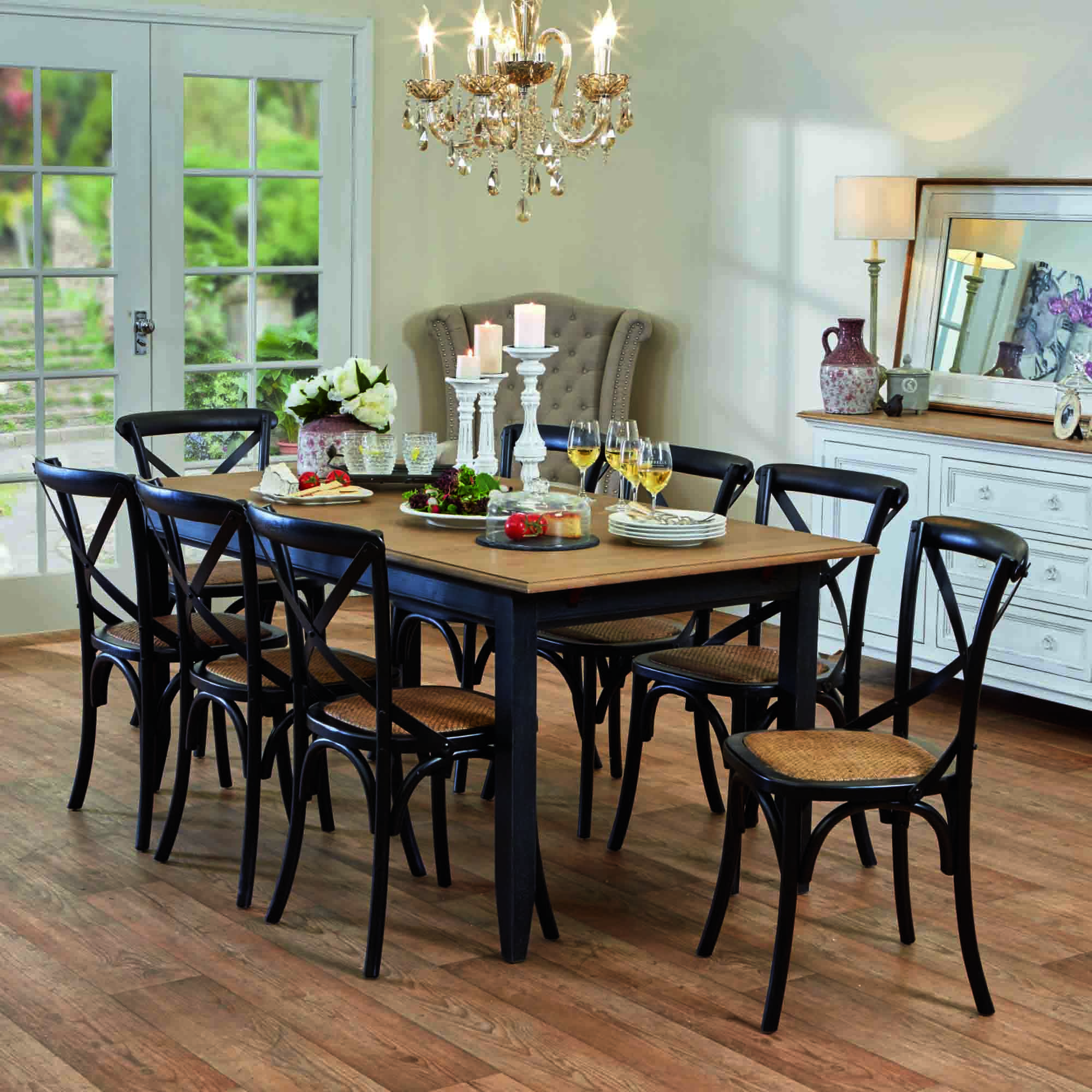 Esquisse Dining Table In Black And Provincial Cross Back Chairs In Black