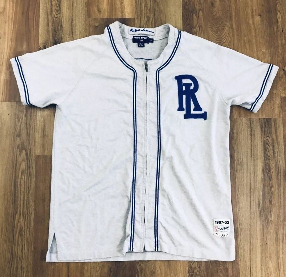 Vintage Polo Sport Ralph Lauren Men s Grey Zip Up Baseball Jersey Size XL   fashion  clothing  shoes  accessories  mensclothing  shirts (ebay link) 3b2b963c2