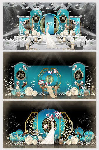 Modern fashion new Chinese Tiffany blue wedding renderings ...