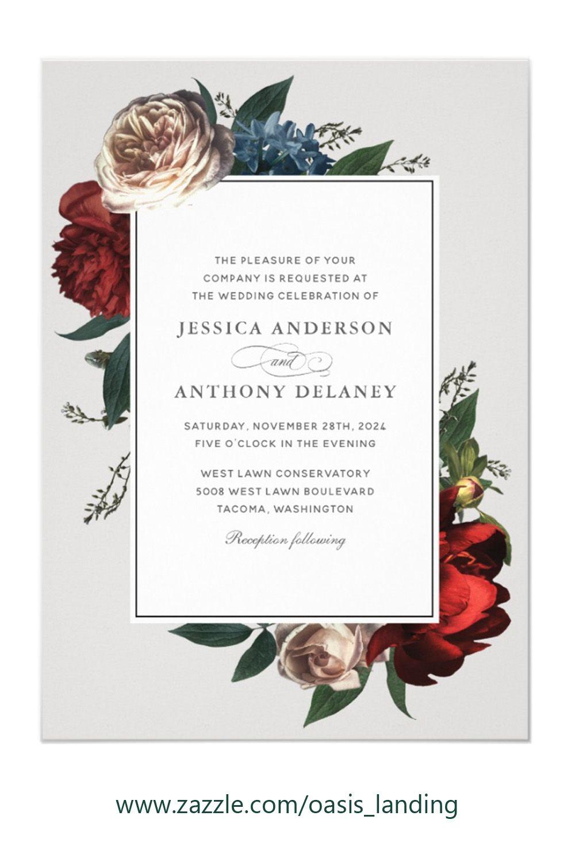 Luxe Elegant Floral Wedding Invitation