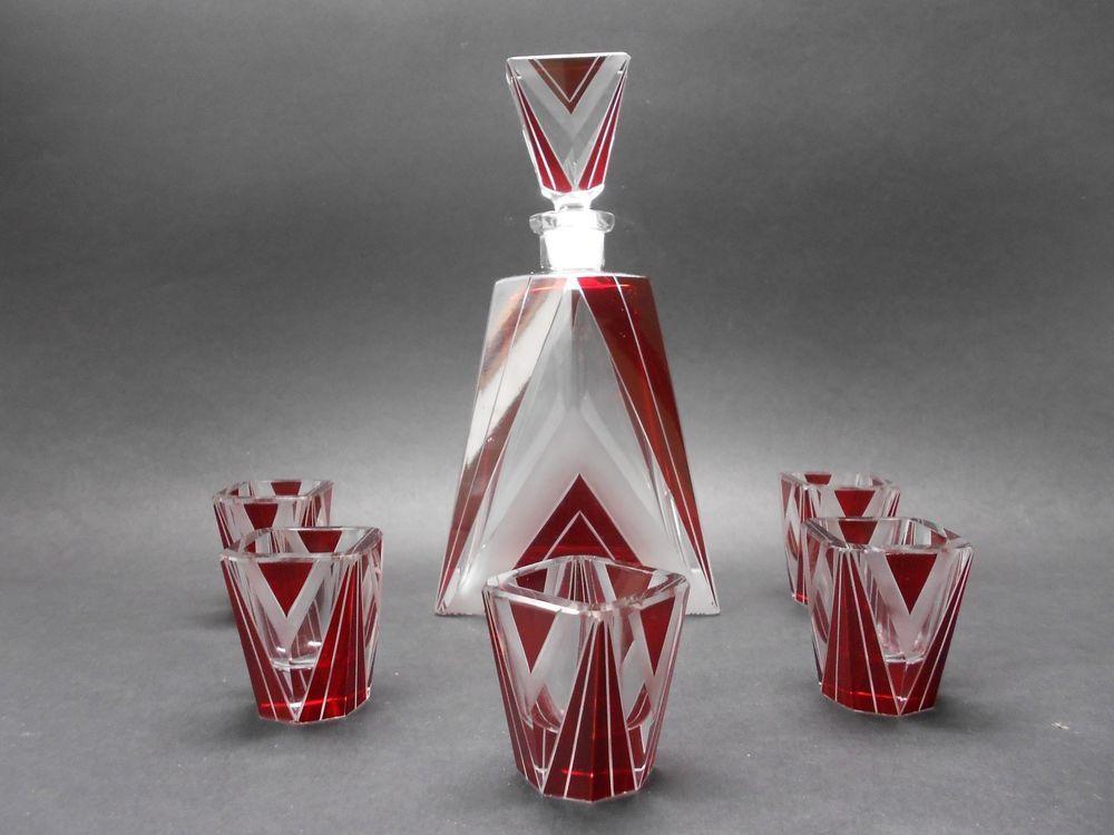 Czech Exquisite Art Deco Decanter , Liqueur Bottle and 5 Glasses Karl Palda #ArtDeco #KarlPalda