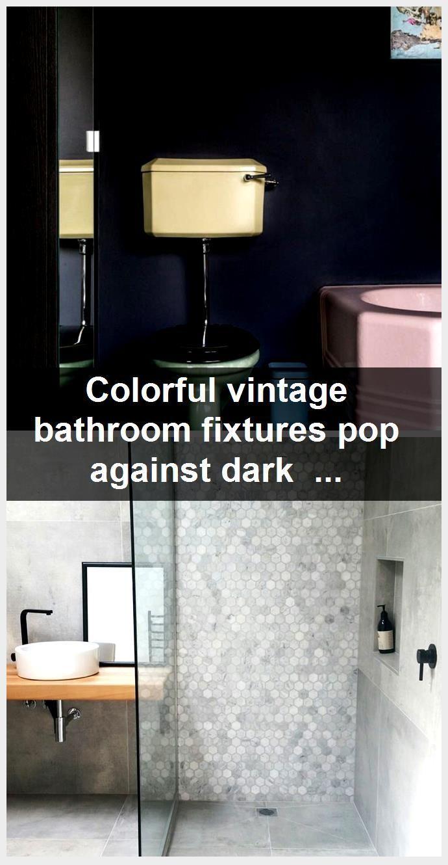 Photo of Colorful vintage bathroom fixtures pop against dark walls. #dreampop Colorful vi …, #Bathro …