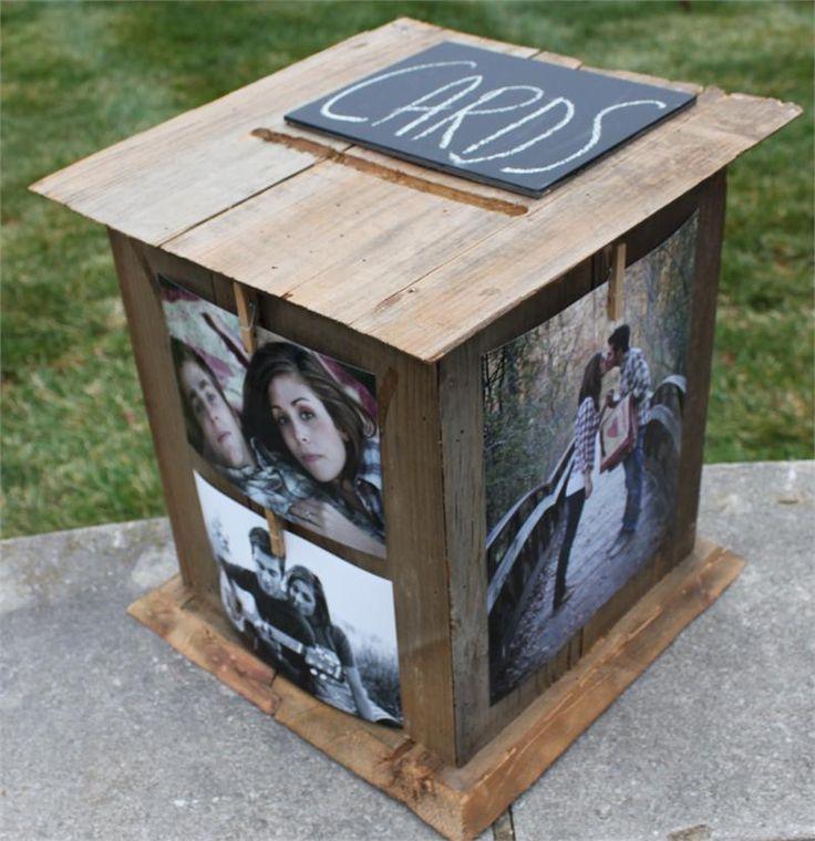 Brown barn rustic wood wedding card box rustic wood card