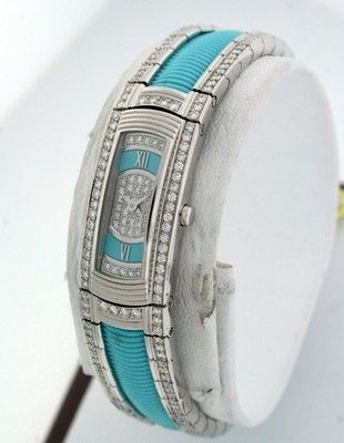 Mauboussin 18k White Gold all Diamond NewTurquoise dial watch.