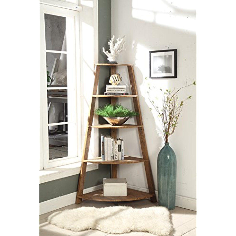 Vintage brown finish wood wall corner tier bookshelf bookcase