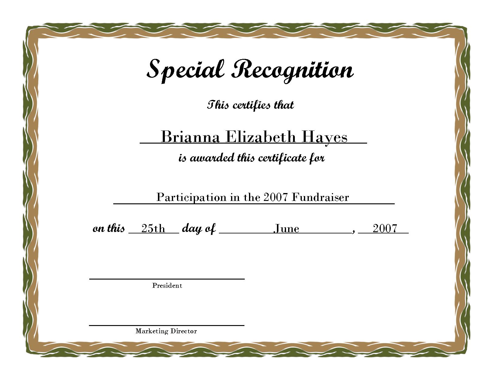 Free Printable Award Certificate Borders