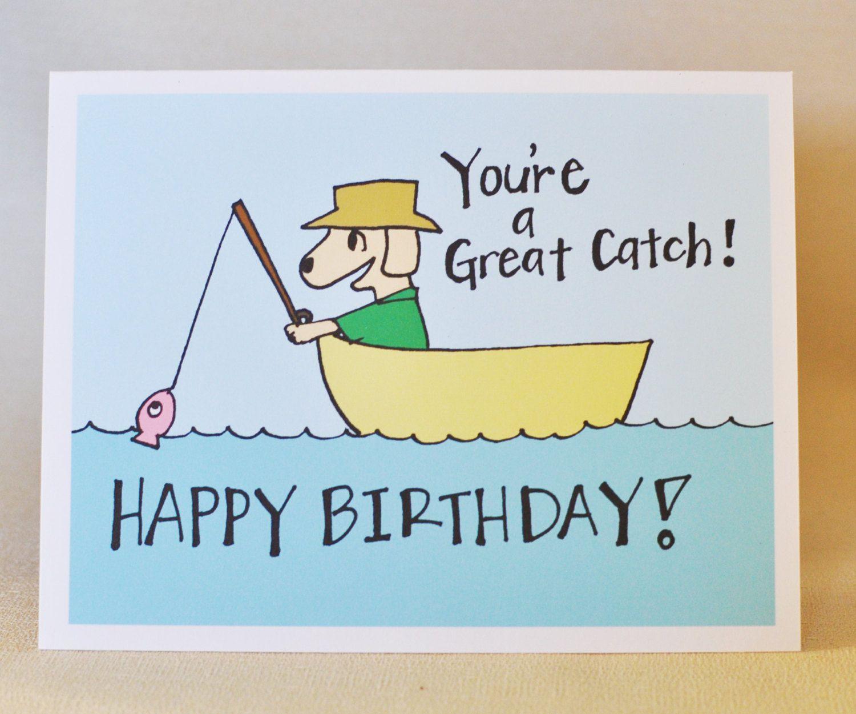 Dog Fishing Birthday Card Fisherman Dad Grandpa For Him Boyfriend Husband By MadeByDianaLou On Etsy