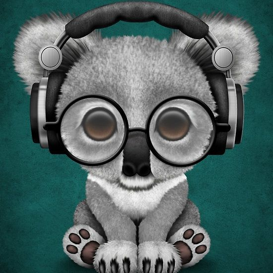 Cute Baby Koala Bear Dj Wearing Headphones On Blue Jeff