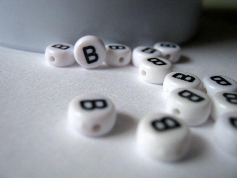 50 Acrylic Alphabet Letter B Beads Size 7mm