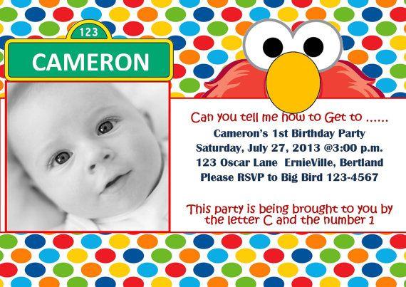 Elmo Inspired Invitation Baby Invitations 1st Birthday Party Custom Sesame Street