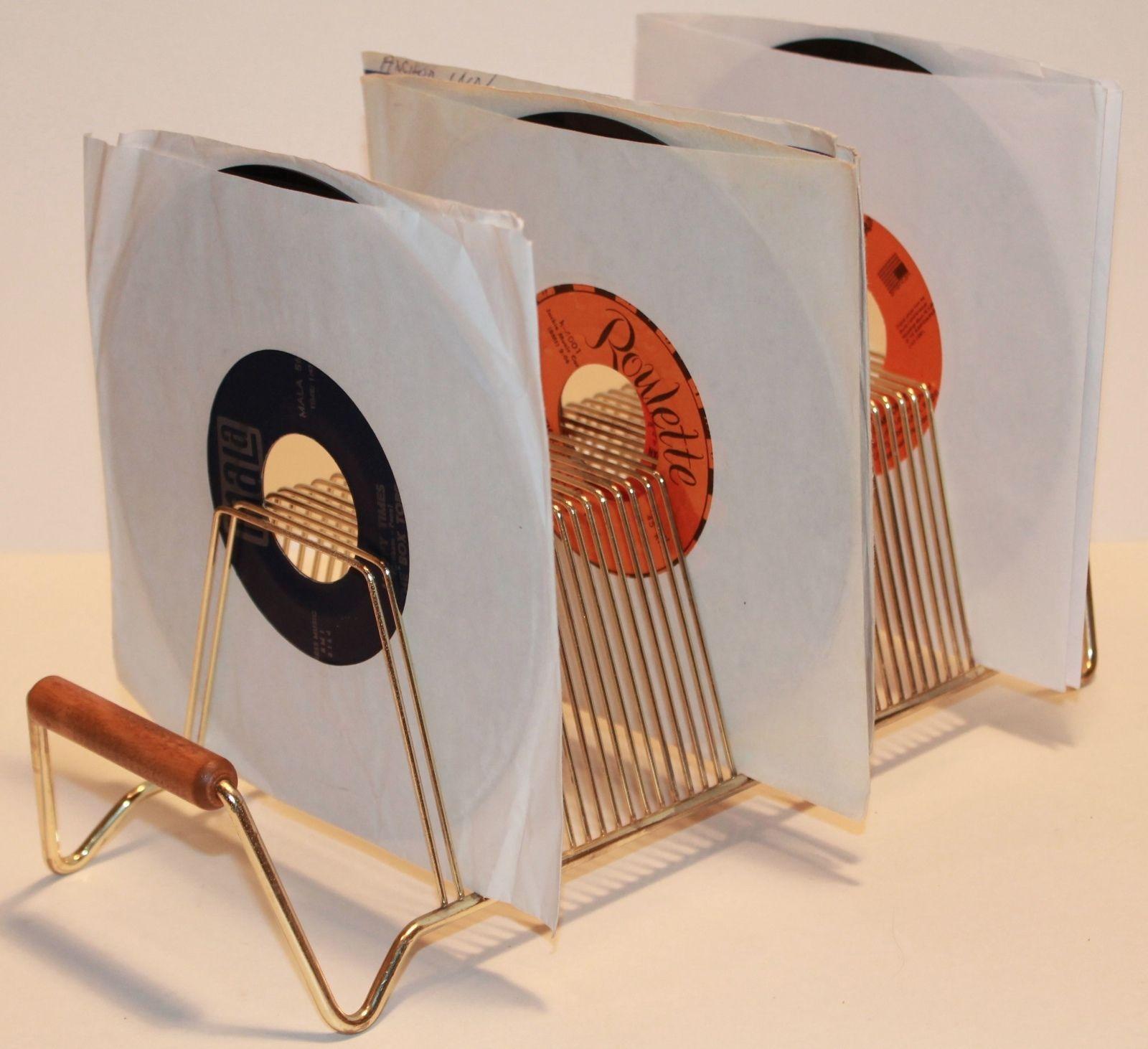 Vintage 7  45 RPM Gold Vinyl Record Storage Rack Stand Shelf 1960 MCM Holds & Vintage 7