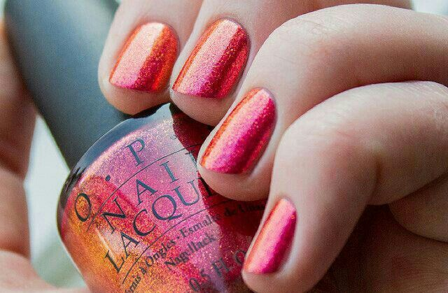 Sparkly pink and orange glitter ombre
