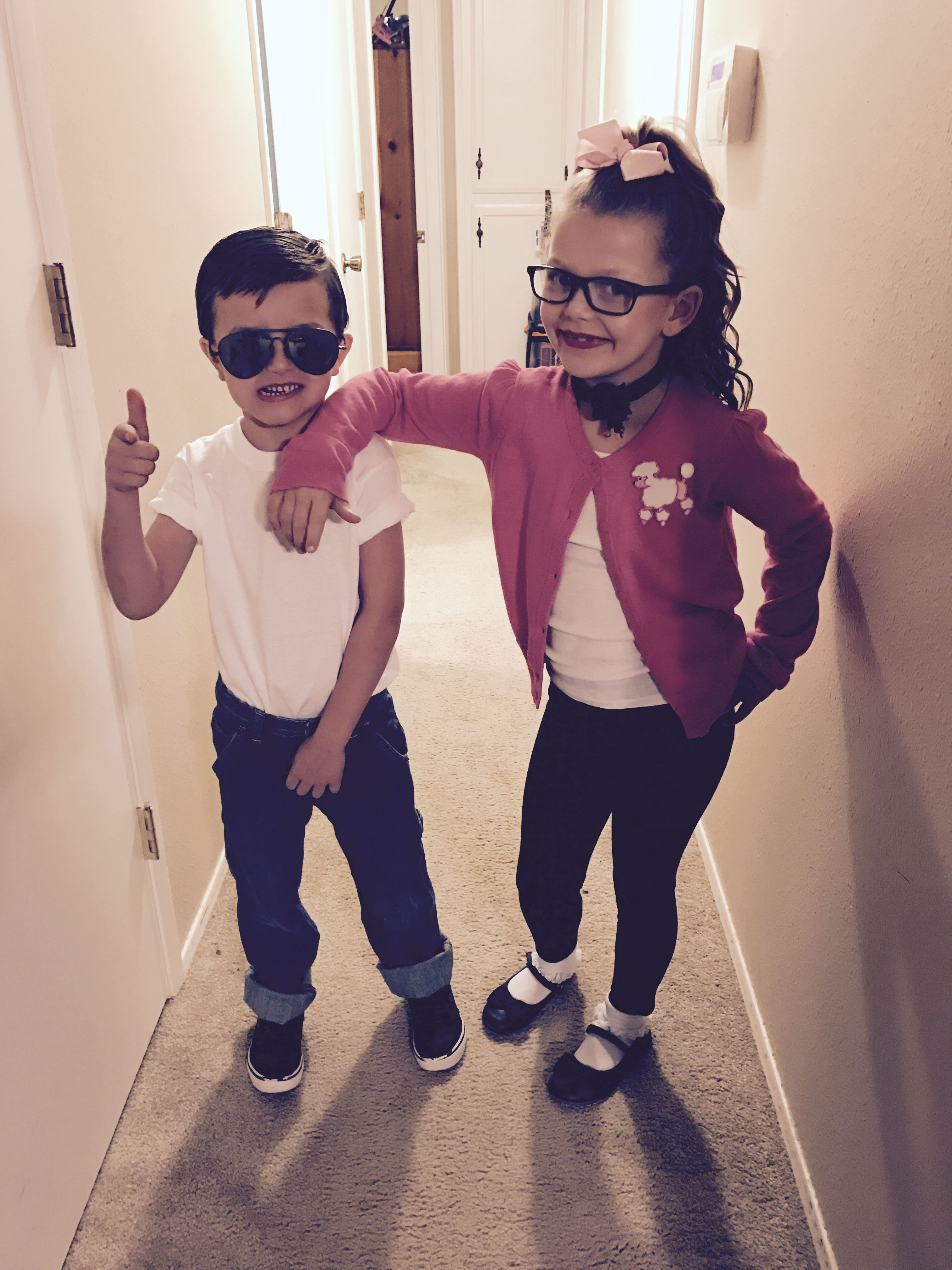 50's day at my kids school!! Love this easy outfit idea for them! Especially last minute!! #decadesdayspiritweek