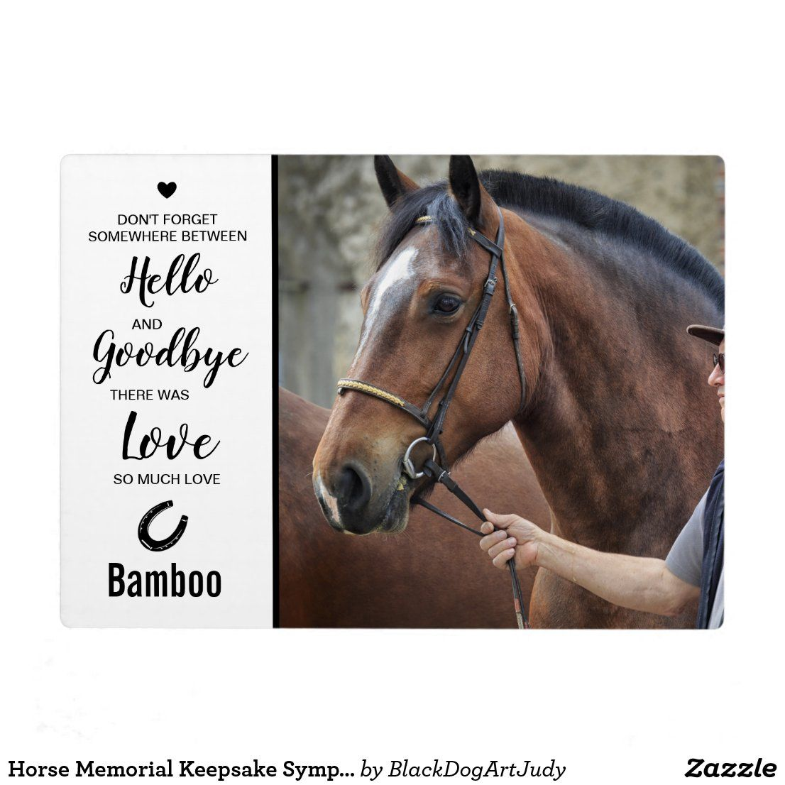 Friesian Horse Tombstone Plaque with a Photo of a Horse Custom Memorial Plaque Ceramic plate with Your Horse/'s Photo