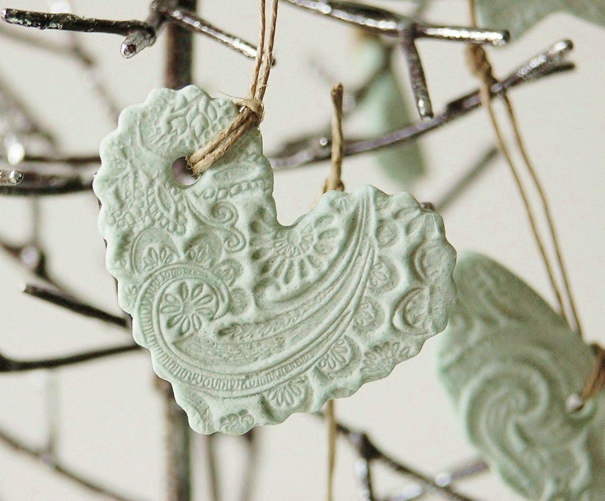 Ornament shabby chic handmade salt dough home decor wedding teal