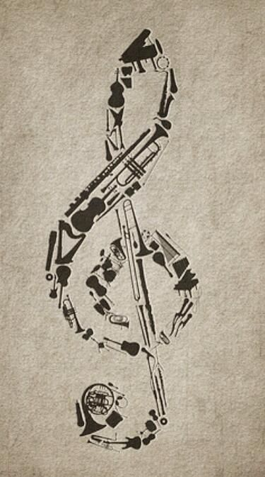 Music: Treble clef composed of instruments