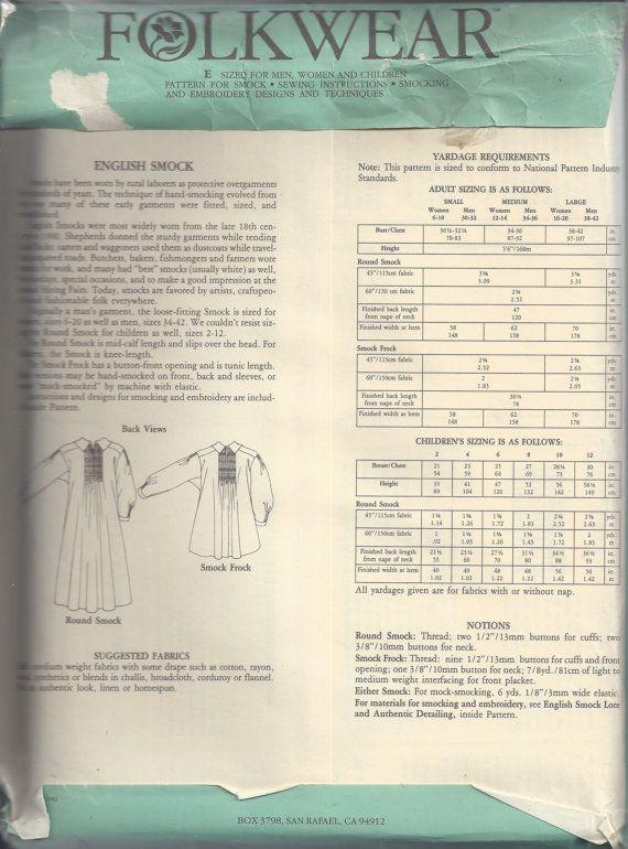 Folkwear 221 English Smock in 2 Lengths Sewing Pattern for Men Women /& Children