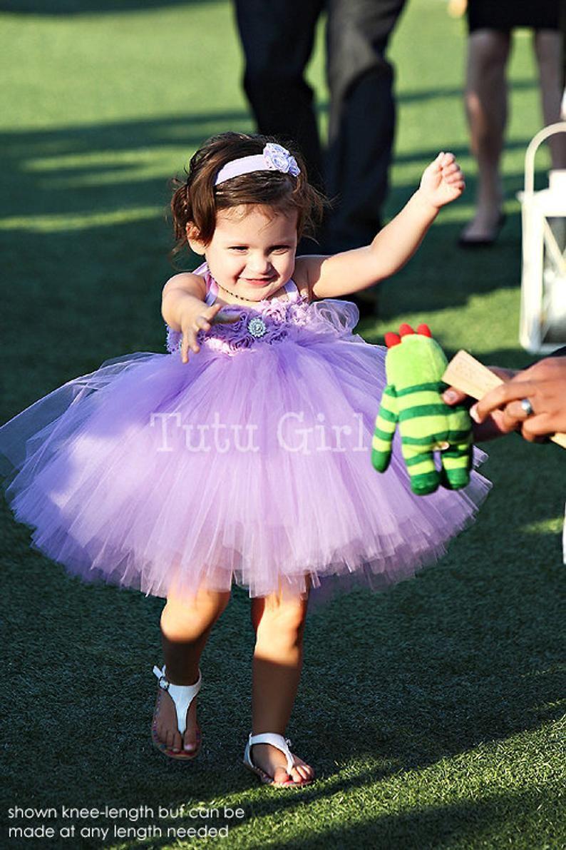 15fa40030 Lavender Flower Girl Tutu Dress, Purple Tutu Dress Girls, SEWN Tutu ...