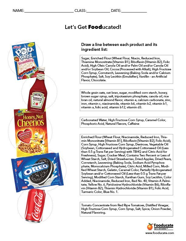 Fun Nutrition Worksheets For Kids Whats In Your Food Pinterest