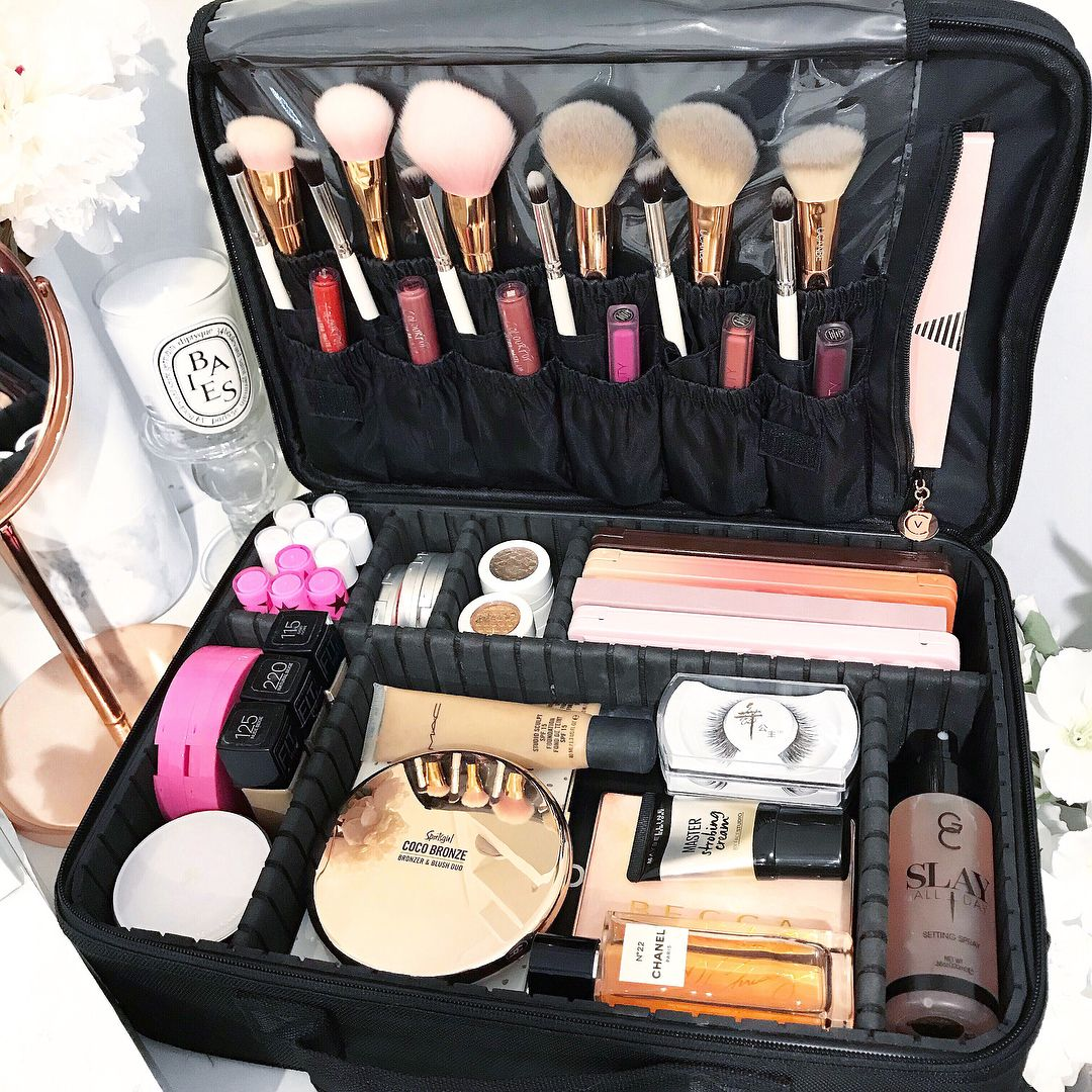Portable Large Travel Oxford Soft Makeup Bag With Mirror In Black