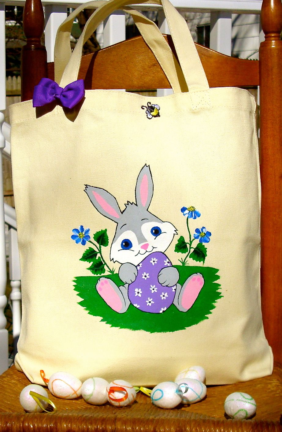 Hand Painted Easter Bunny With Egg Tote Bag by Paint It Pretty - $25.00 - Handmade Accessories, Crafts and Unique Gifts by It's In The Bag