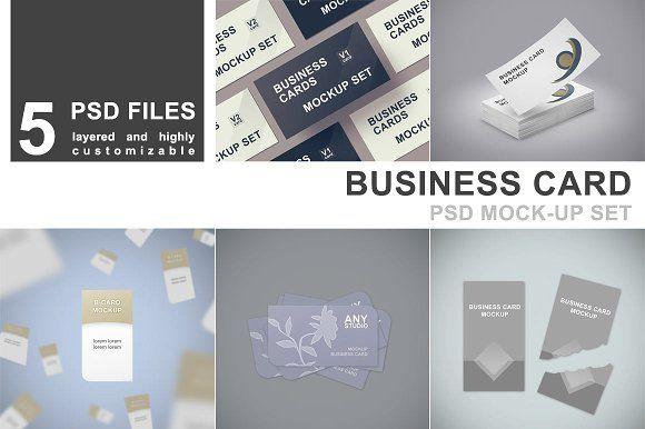 Business card mockup set 5 psd product mockups pinterest business card mockup set 5 psd by mockupgeek on creativemarket reheart Choice Image