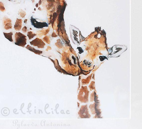 Girafe impression girafe pépinière fine art impression jet dencre girafe art fête des mères cadeau maman et bébé girafe Safari pépinière art cadeau pour les enfants