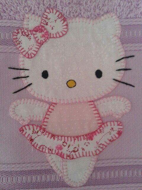 Hello Kitty Bailarina Applique De Bebe Bordado Do Bebe