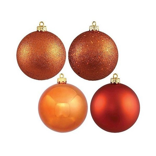 96ct Burnt Orange Plastic Assorted Finishes Ball Shatterproof