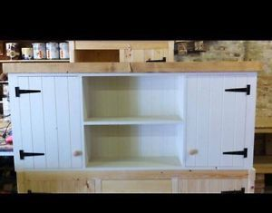 Large Solid Pine Rusic Kitchen Wall Unit Cupboard Cabinet Dresser Shelving Ebay