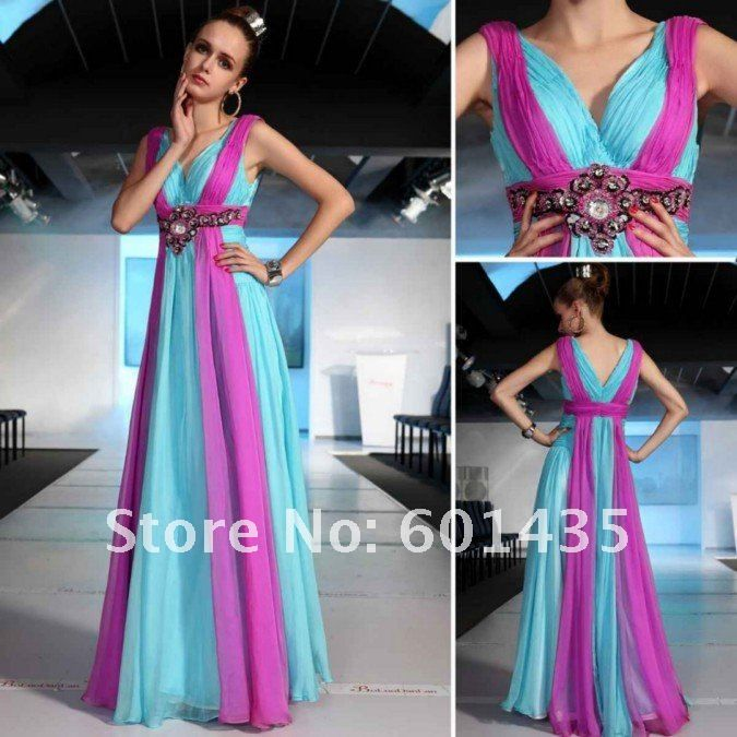 Newest Pleated Blue And Purple Color Combinations Of Dresses