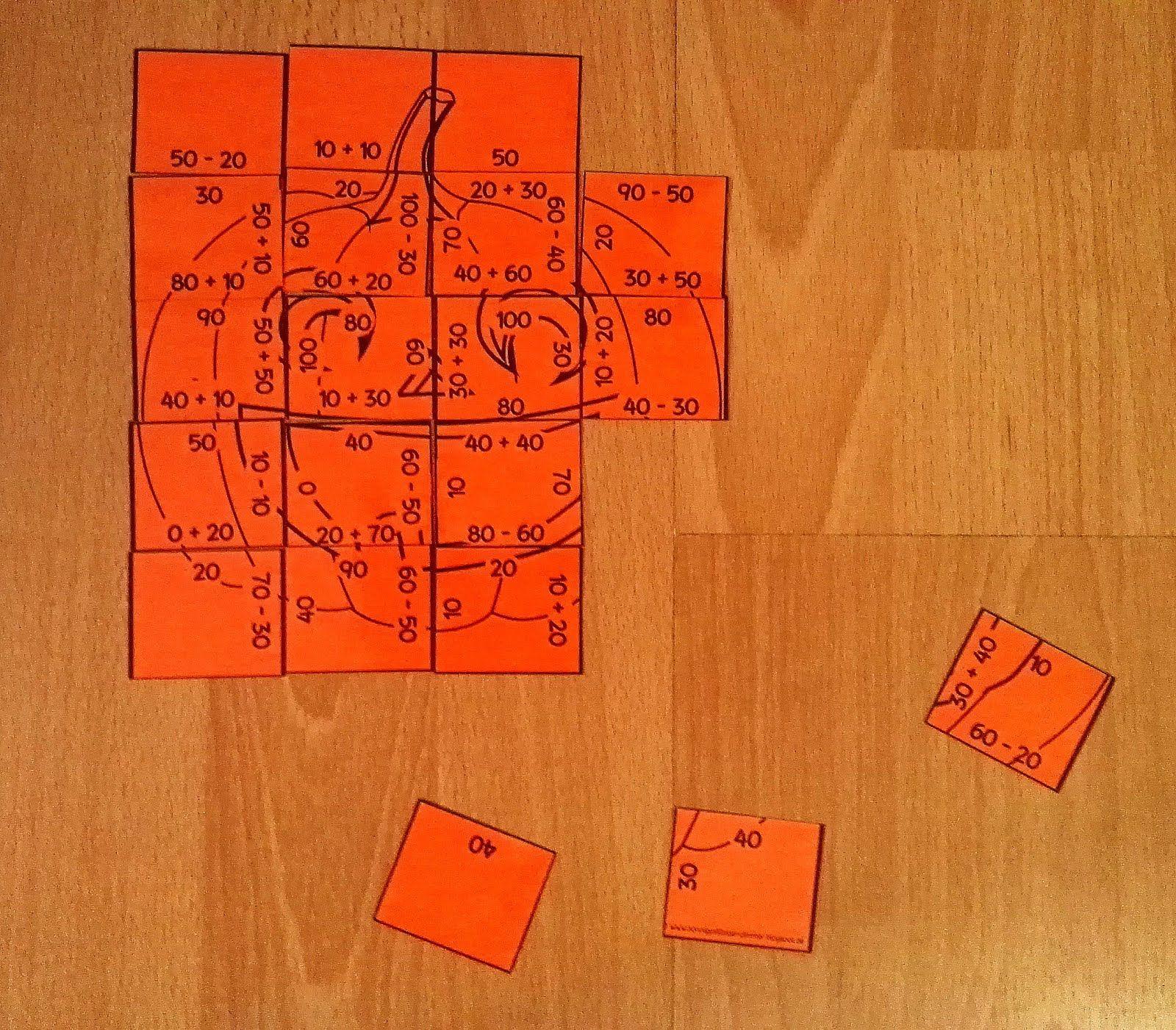 Rechen mit Zehnerzahlen Herbst Kürbis | mathemonster1 | Pinterest