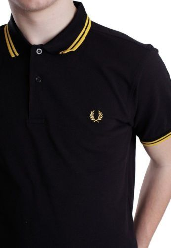 BLACK-YELLOW-FRED-PERRY-TWIN-TIPPED-SHORT-SLEEVE-POLO-MEN-TEE-T-SHIRT 5fe0648f5d