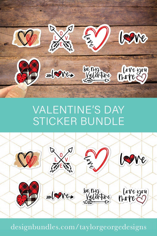 Download Valentine S Day Sticker Bundle 1149166 Sublimation Design Bundles In 2021 Download Valentines Valentines Glitter Stickers