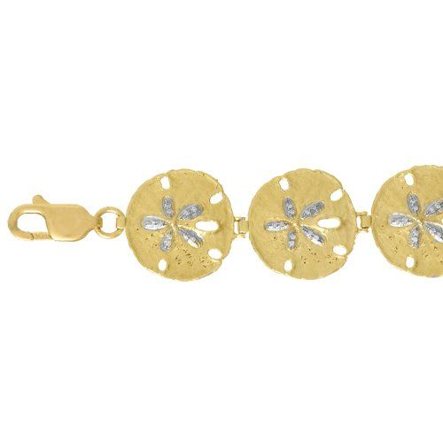 Amazoncom 14k Gold Nautical Charm Bracelet 18 Dwt Diamond Accent