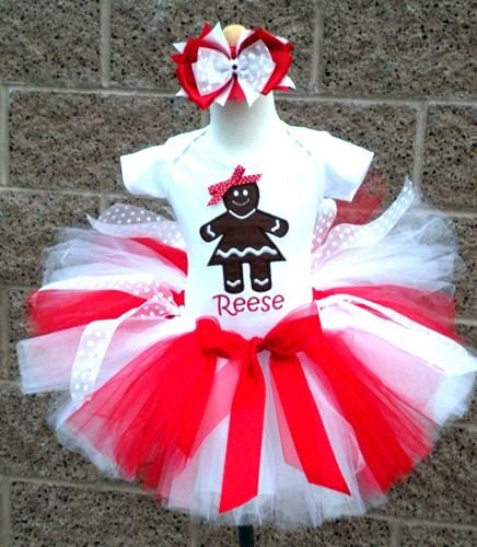 Customized Gingerbread Girl Christmas Tutu Outfit For Girls  http://www.tutusweetshop. - Pin By My SEO Gal On Kids Holiday Clothing Pinterest Tutu